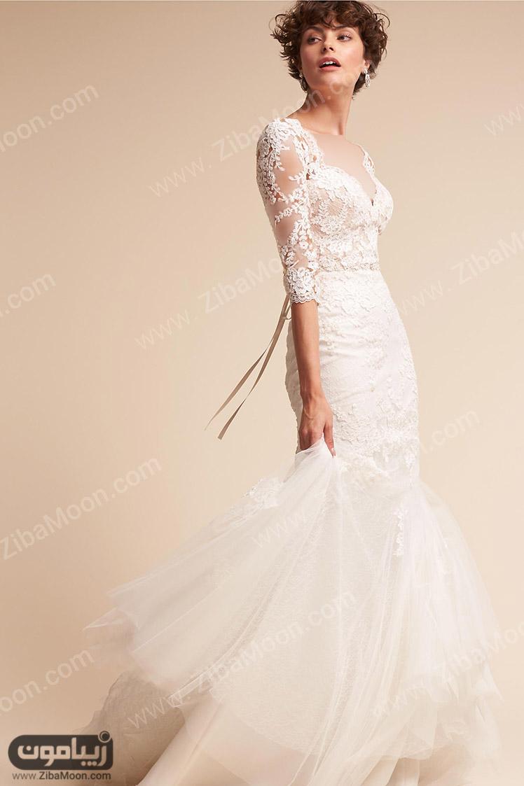 مدل لباس عروس شکوفه دار مدل های لباس عروس آستین دار اروپایی - زیبامون