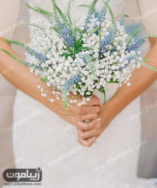 دسته گل عروس با شکوفه های بهاری