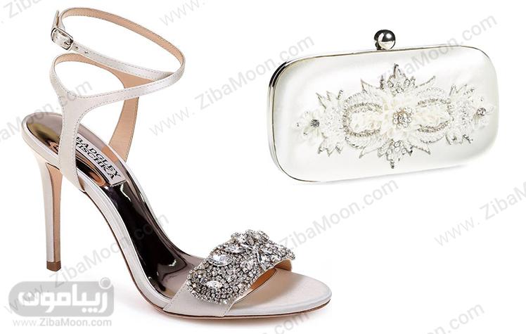 ست کیف و کفش ساتنی عروس کار شده با سنگ