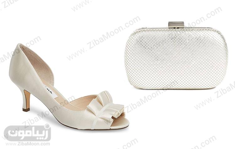 ست کیف و کفش ساتنی عروس