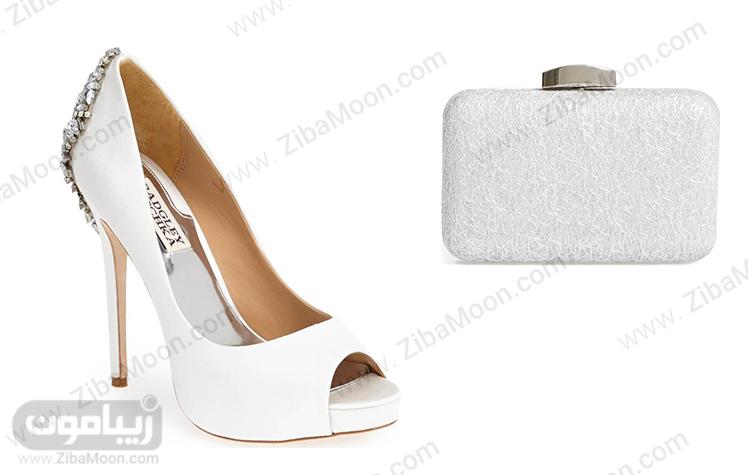ست کیف و کفش سفید و نقره ای عروس