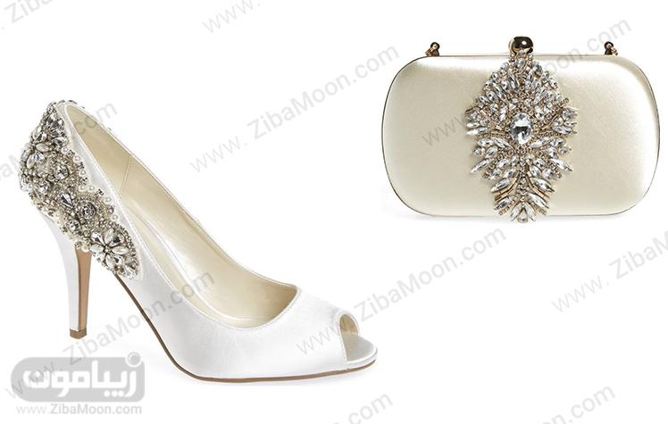 ست کیف و کفش عاجی و سفید عروس با سنگدوزی
