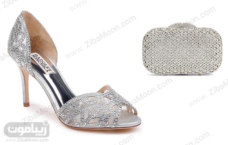 ست کیف و کفش نقره ای عروس سنگدوزی شده