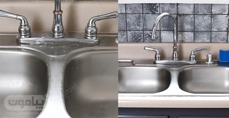 سینک ظرفشویی کثیف و سینک ظرفشویی تمیز