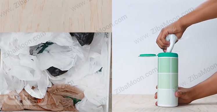 مرتب کردن کیسه های پلاستیکی