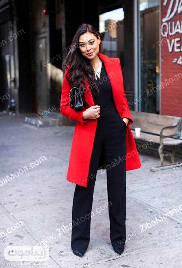 استایل دخترانه با پالتو قرمز