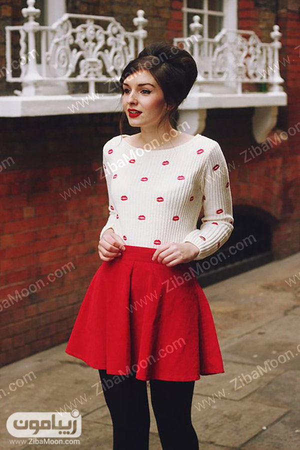 استایل شیک دخترانه با دامن کوتاه قرمز