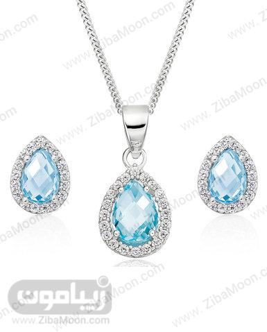 ست گردنبند و گوشواره الماس طلای سفید و توپاز آبی عروس