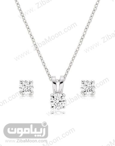 ست گردنبند و گوشواره الماس و طلای سفید عروس