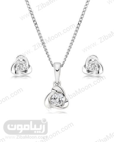 ست گردنبند و گوشواره طلا سفید و الماس گل عروس