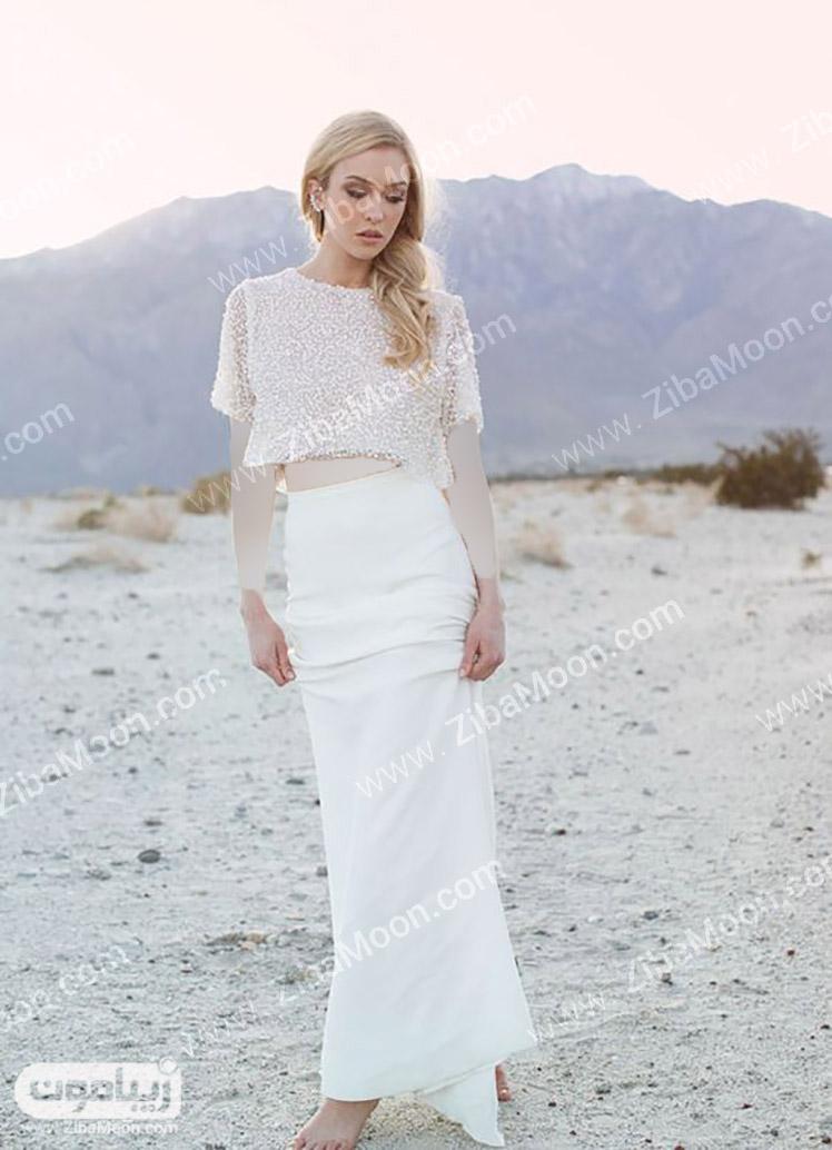لباس عروس استین سه ربع مدل لباس عروس دو تیکه - قسمت اول! | زیبامون