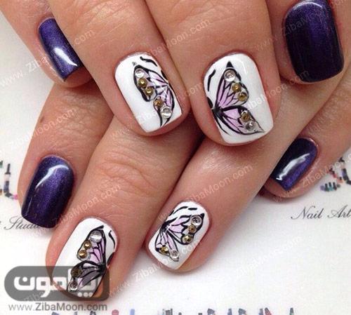 طراحی ناخن به شکل پروانه