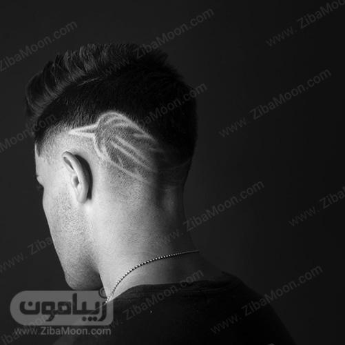 خط موی گردن فید شده به پر