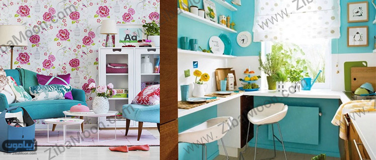 دکوراسیون آبی و گلدار
