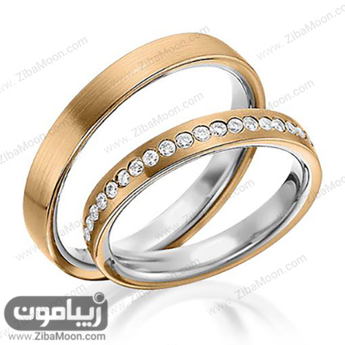 ست حلقه ازدواج طلایی و نگین دار