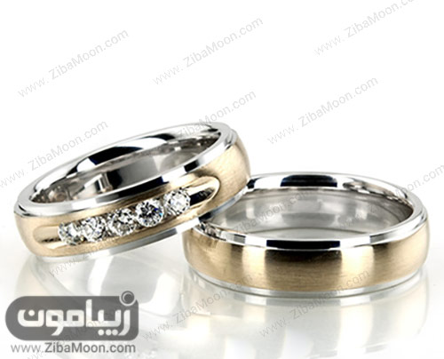 ست حلقه ازدواج طلایی و سفید نگین دار