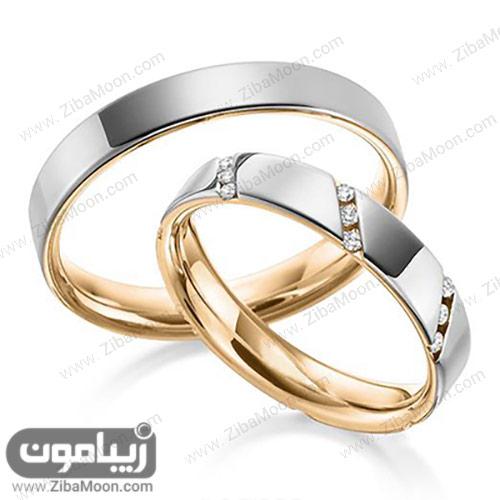 ست حلقه ازدواج زیبا با نگین های ریز