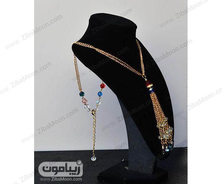 گردنبند کریستال با زنجیر طلا