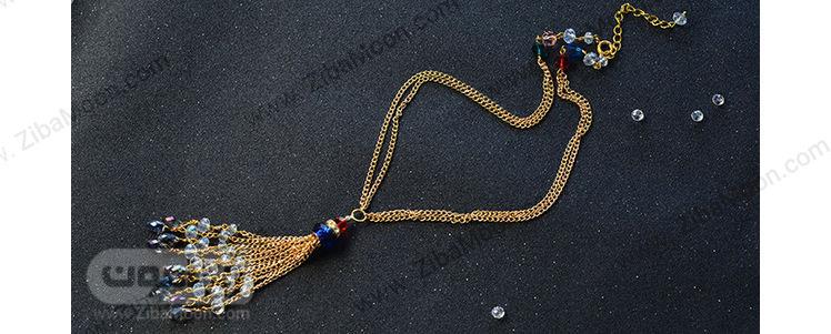 گردنبند کریستال رنگی و زنجیر طلایی
