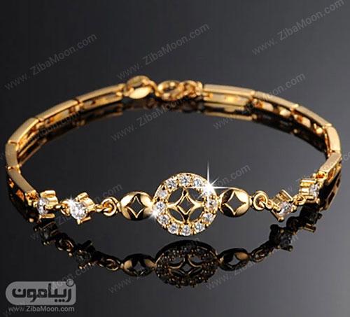 دستبند طلا با نگین های درخشان