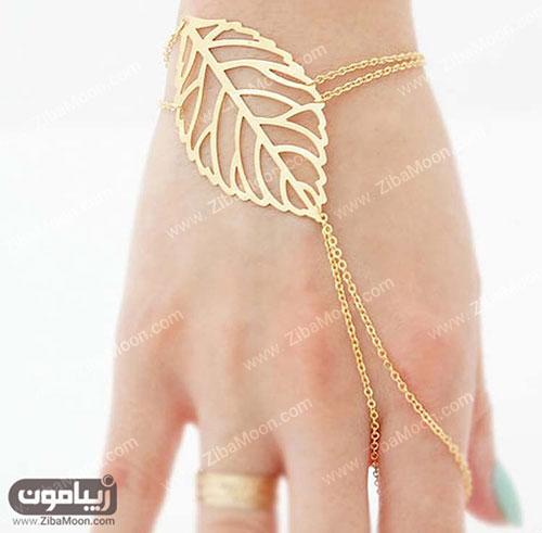 دستبند طلا ظریف به شکل برگ