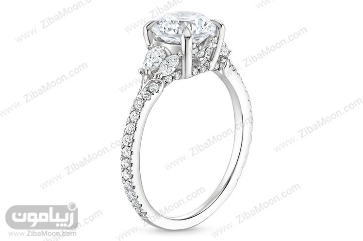 حلقه ازدواج با الماس درشت و رکاب برلیان