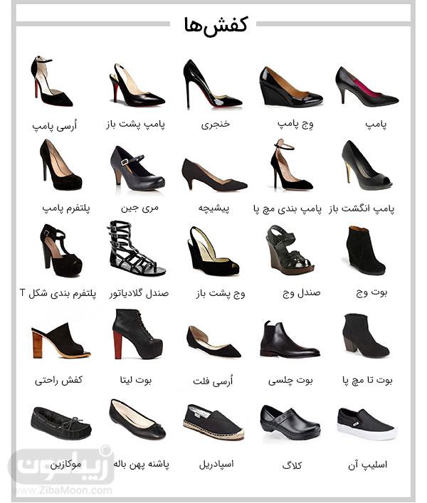 اینفوگرافی مدل کفش ها