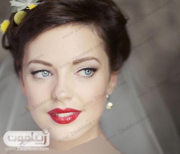 آرایش عروس با رژلب قرمز