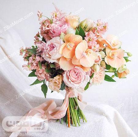 دسته گل عروس با گل رز صورتی و ارکیده هلویی