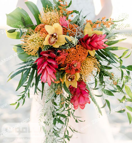 دسته گل عروس با گل های شاداب و زیبا