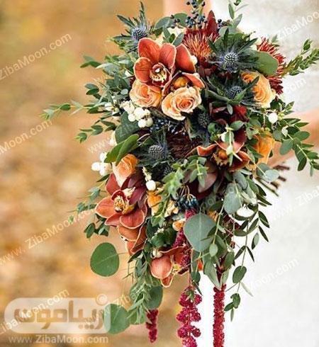 دسته گل عروس با گل های نارنجی