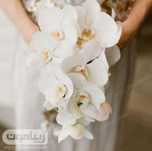 دسته گل ارکیده سفید و ساده