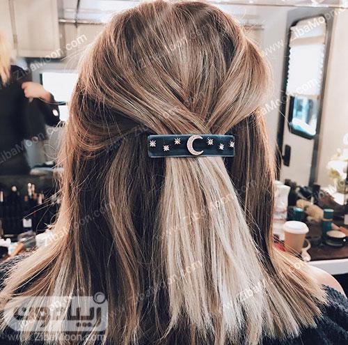 مدل مو ساده با گیره مو
