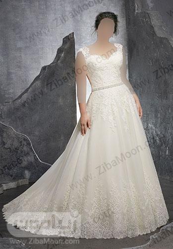 لباس عروس با بالاتنه و دامن کار شده