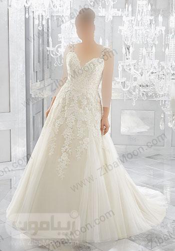 لباس عروس با بالاتنه و کمر کار شده
