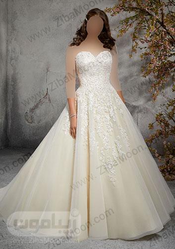 لباس عروس با بالاتنه کاملا کار شده