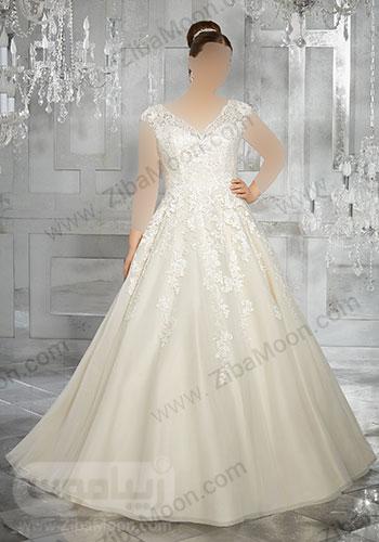 لباس عروس با یقله دلبری و بالاتنه کاملا کار شده
