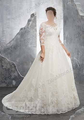 لباس عروس با یقه دلبری و بالاتنه کار شده
