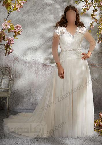 لباس عروس تور با یقه دلبری