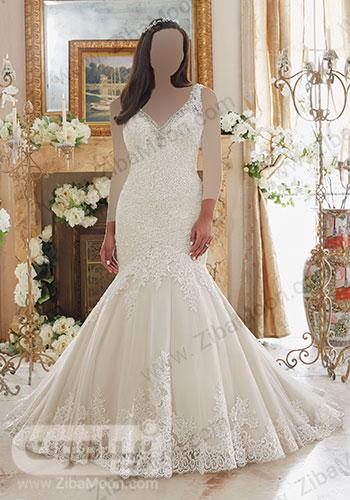 لباس عروس دم ماهی با بالاتنه و دور دامن کریستالی منجوقی