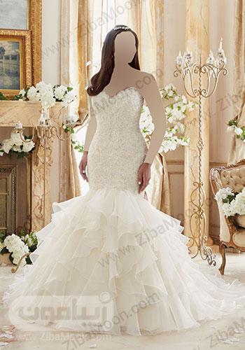 لباس عروس دم ماهی با بالاتنه کریستال دوزی