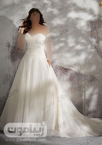 لباس عروس چند لایه حریر و یقه دلبری