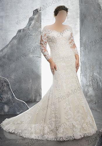 لباس عروس کار شده و دنباله دار