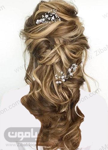 مدل موی باز عروس با اکسسوری مرواریدی