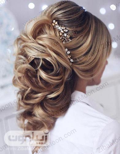 مدل مو باز عروس با اکسسوری کریستالی