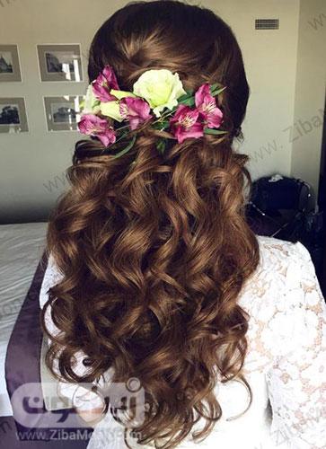 مدل مو باز عروس با تاج گل