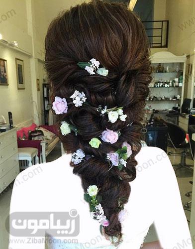 مدل مو باز عروس با تزئینات گل