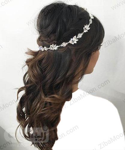 مدل مو باز قهوه ای عروس با تاج کریستال