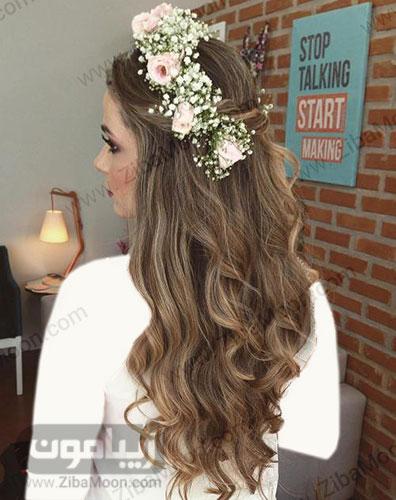 مدل مو هایلایت بلند عروس با تاج گل
