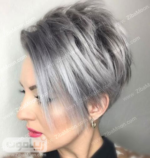 مدل مو کوتاه و شیک با رنگ خاکستری براق